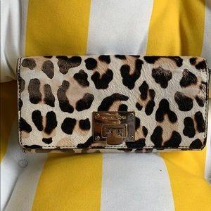 Michael Kors calf hair cheetah leather wallet